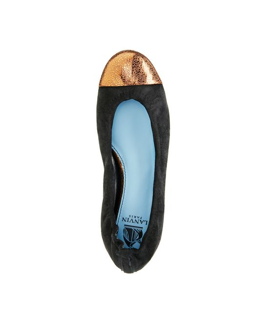 lanvin black ballet pump with gold toecap women