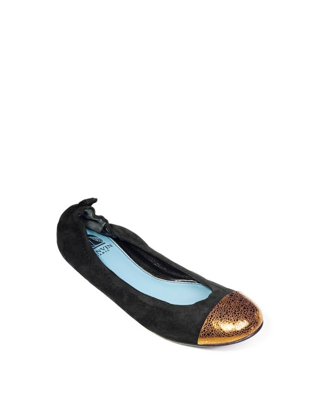 LANVIN BLACK BALLET PUMP WITH GOLD TOECAP Ballerinas D f