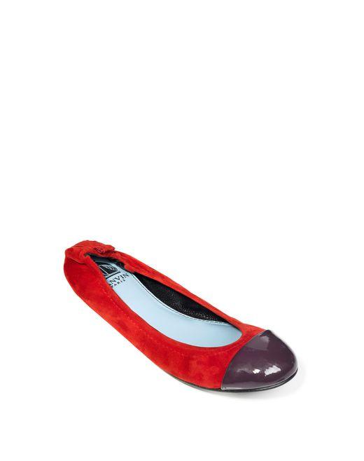 lanvin red ballet pump with violet toecap women