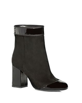 TWO LEATHER HIGH HEEL ANKLE BOOT