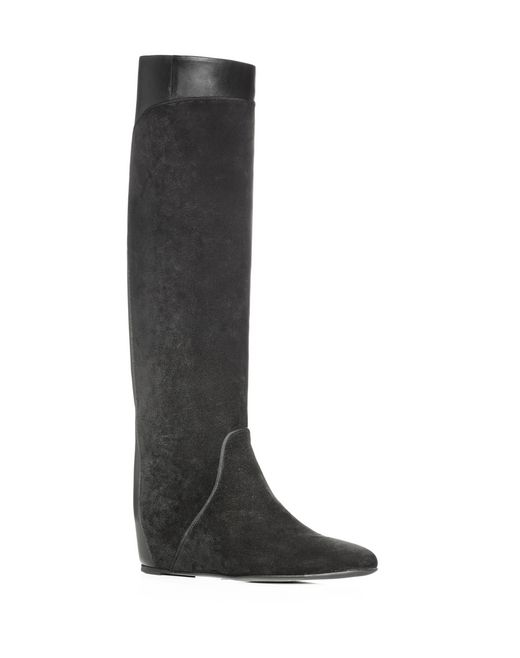 lanvin black wedge heel boot  women