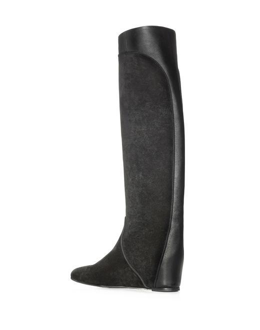 lanvin black wedge heel boot  women