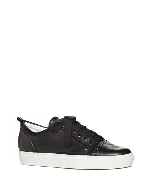 lanvin low black embossed sneaker in lambskin women