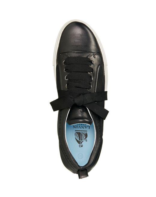 lanvin low black embossed black sneaker in lambskin women