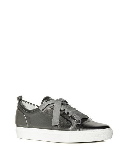 lanvin low gunmetal embossed sneaker  women