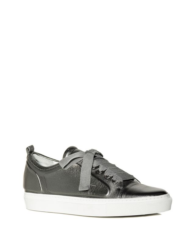 LANVIN LOW GUNMETAL EMBOSSED SNEAKER Sneakers D f