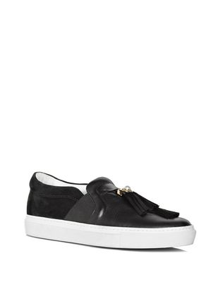 LANVIN BLACK SLIP-ON WITH TASSELS Sneakers D f