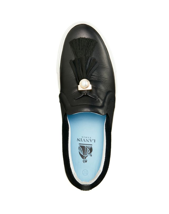 LANVIN BLACK SLIP-ON WITH TASSELS Sneakers D d
