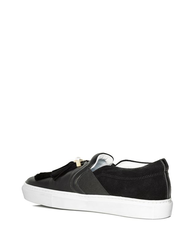 LANVIN BLACK SLIP-ON WITH TASSELS Sneakers D r