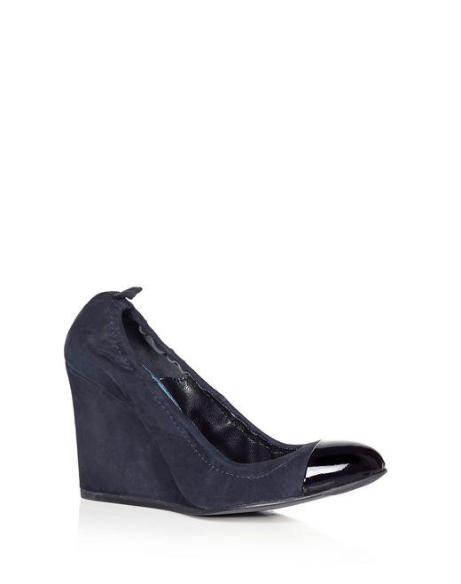 lanvin wedge heel with patent toecap women