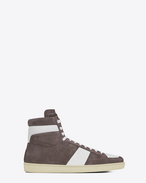 SAINT LAURENT SL/10H U Signature COURT CLASSIC SL/10H in Dark Anthracite Suede and Off White Leather f