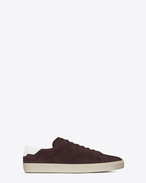 SAINT LAURENT SL/06 U Sneaker Signature COURT CLASSIC SL/06 bordeaux in scamosciato e bianco ottico in pelle f