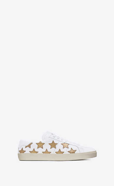 SAINT LAURENT SL/06 Man signature court sl/06 california sneaker in off white leather and dark gold metallic leather a_V4