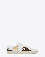 SAINT LAURENT SL/06 U Signature COURT CLASSIC SL/06 Sea, Sex & Sun Sneaker in Off White Leather, Tan and Black Cowhide Leather, Dark Gold Metallic Leather and Brown Glitter Fabric f
