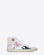 SAINT LAURENT High top sneakers U Sneaker Signature COURT CLASSIC SL/06 Sea, Sex & Sun Mid-Top bianco ottico, argento in pelle metallizzata e blu navy, rosa vegas e marrone in tessuto glitter f
