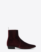 SAINT LAURENT Boots U DEVON 30 zipped boot in bordeaux velour f