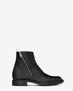 SAINT LAURENT ARMY SHOES U RANGER 25 Zip Mid Boot in Black Crocodile Embossed Leather f