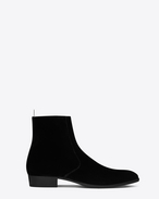 SAINT LAURENT Boots U Signature WYATT 30 Zipped Boot in Black Velour f