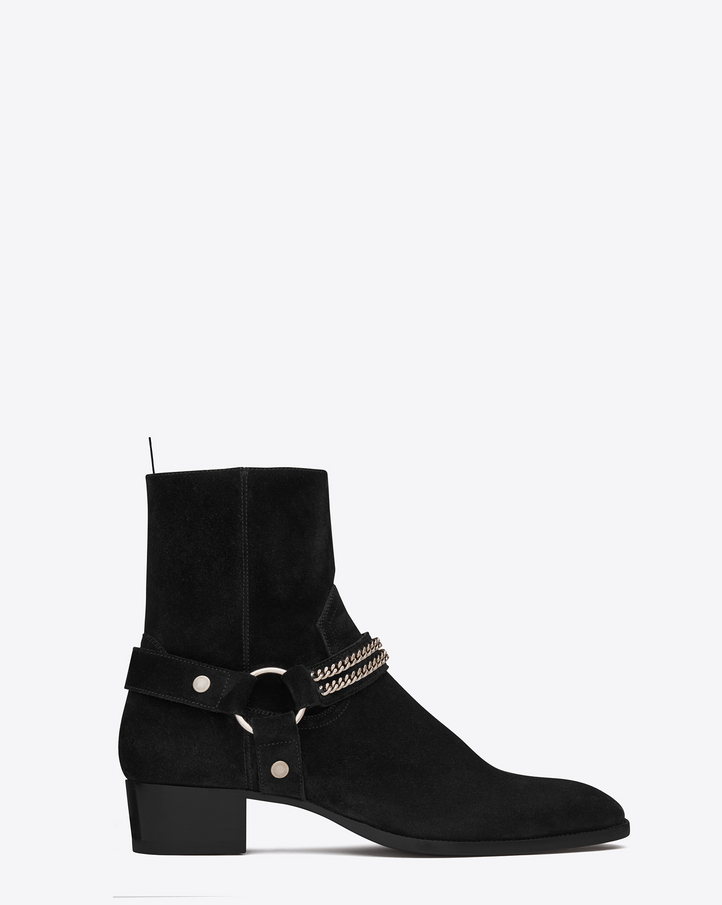 Saint Laurent WYATT 40 Chain Harness Boot In Black Suede | YSL.com