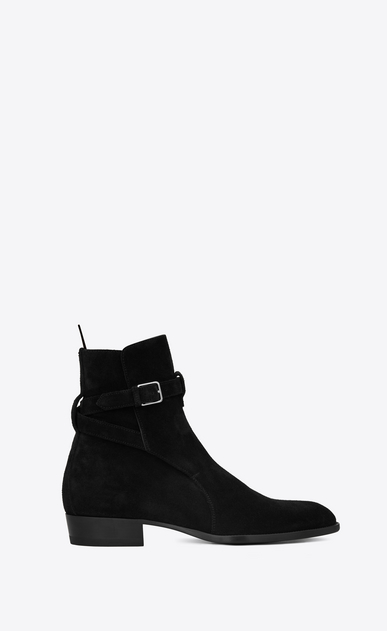 SAINT LAURENT Boots Man Signature WYATT 30 Jodhpur Boot in Black Suede a_V4