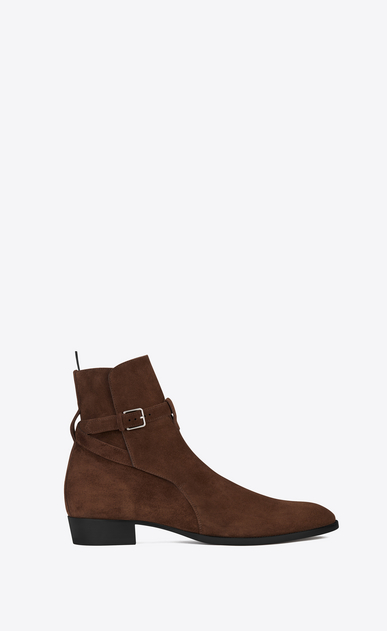 SAINT LAURENT Boots Man Signature WYATT 30 Jodhpur Boot in Brown Suede a_V4