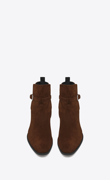 SAINT LAURENT Boots Man Signature WYATT 30 Jodhpur Boot in Brown Suede b_V4