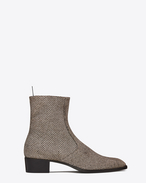 SAINT LAURENT Boots U Signature WYATT 40 Zipped Boot in Gold and Silver Woven Metallic Fabric f