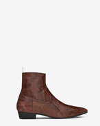 SAINT LAURENT Boots U DEVON 30 western boot in cognac and black patent python embossed vintage leather f