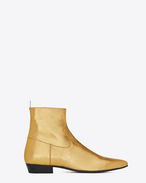 SAINT LAURENT Boots U DEVON 30 western boot in gold python embossed metallic leather f