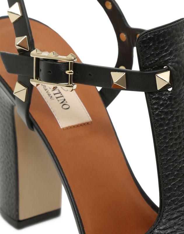 Grain calfskin leather Rockstud Platform Sandal 100mm
