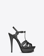 SAINT LAURENT Sandals D Classic TRIBUTE 105 Sandal in Graphite Lizard Embossed Metallic Leather f