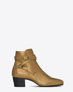 SAINT LAURENT Flat Booties D Signature BLAKE 40 Jodhpur Boot in Dark Gold Metallic Suede f