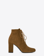 SAINT LAURENT Babies D BABIES 90 Lace-Up Ankle Boot in Tan Suede f