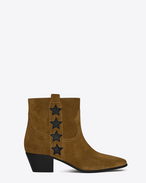 SAINT LAURENT Flat Booties D ROCK 40 Side Stars Ankle Boot in Tan Suede and Black Leather f