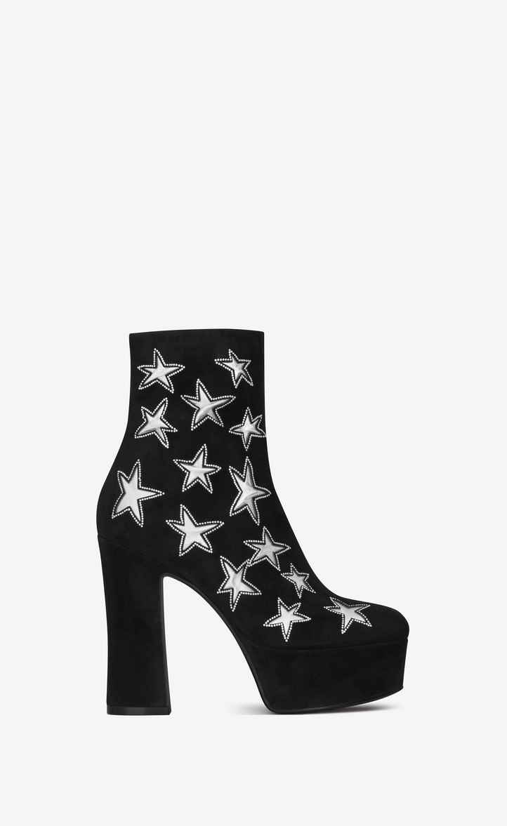 Saint Laurent Candy 80 Star Ankle Boot In Black Suede