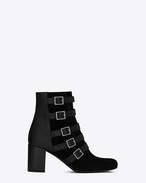 SAINT LAURENT Babies D BABIES 70 Belted Ankle Boot in Black Suede and Leather f