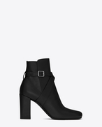 SAINT LAURENT Babies D BABIES 90 Cross Strap Ankle Boot in Black Leather f