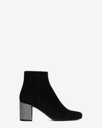 SAINT LAURENT Babies D BABIES 70 Studded Ankle Boot in Black Suede and Clear Crystal f
