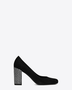 SAINT LAURENT Babies D BABIES 90 Studded Pump in Black Suede and Clear Crystal f