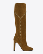SAINT LAURENT Over-the-knee Boot D Botte cloutée Y GRACE 105 en suède brun clair f