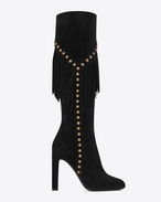 SAINT LAURENT Over-the-knee Boot D GRACE 105 Y Studded Fringed Boot in Black Suede f