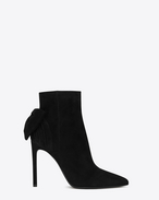 SAINT LAURENT Hohe Stiefeletten D Classic PARIS SKINNY105 Bow Ankle Boot in Black Suede f