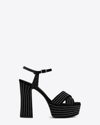 SAINT LAURENT Candy D CANDY 80 Studded Sandal in Black Suede and Silver-Toned Metal f