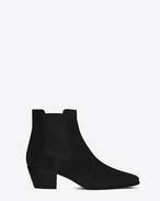 SAINT LAURENT Flat Booties D ROCK 40 Western Ankle Boot in Black Suede f