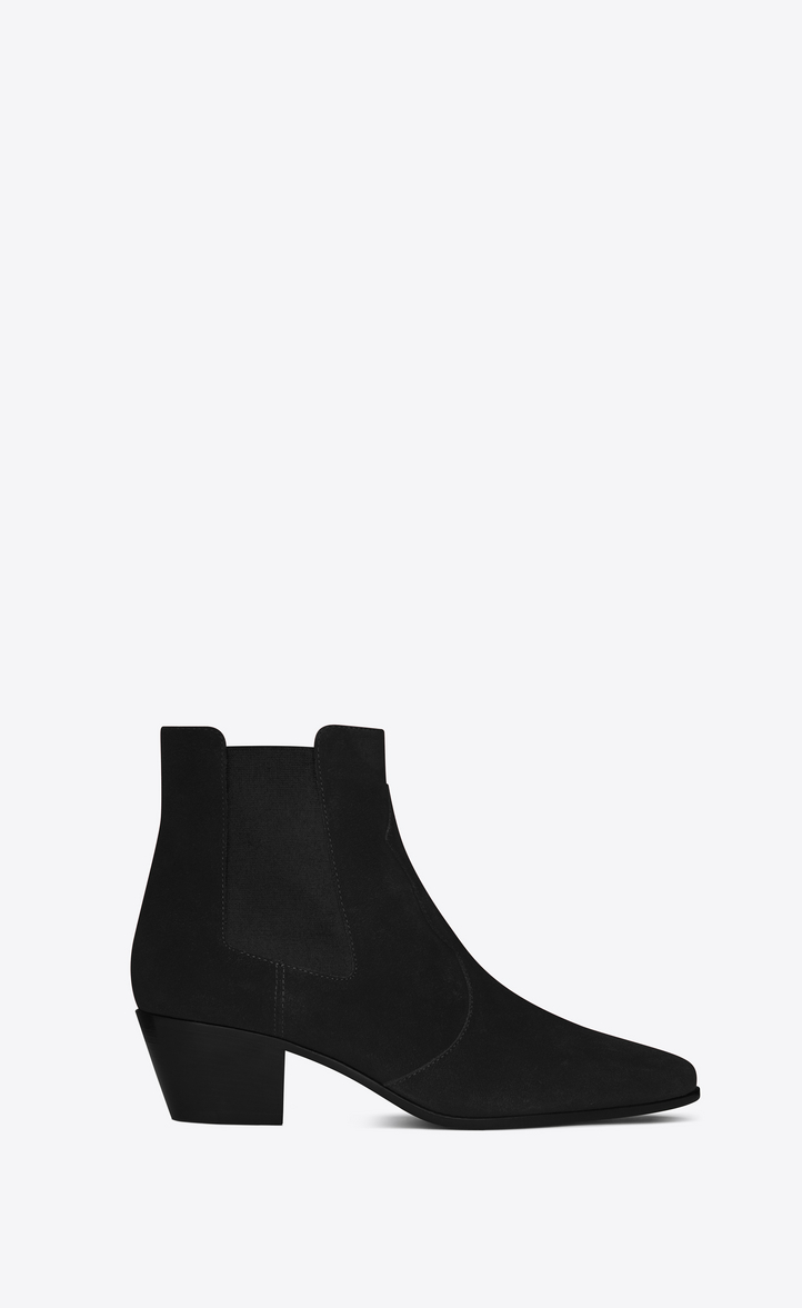 e9630af2fef6d Saint Laurent ROCK 40 Western Ankle Boot In Black Suede
