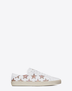 SAINT LAURENT Trainers D Signature COURT CLASSIC SL/06 CALIFORNIA Sneaker in Off White Leather and Multicolor Glitter f