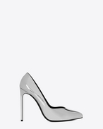 SAINT LAURENT Paris Skinny pumps D Classic PARIS SKINNY 105 Escarpin V Pump in Silver Metallic Faux Leather f