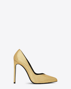 SAINT LAURENT Paris Skinny pumps D Classic PARIS SKINNY 105 Escarpin V Pump in Gold Python Embossed Metallic Leather f