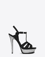 SAINT LAURENT Sandals D Classic TRIBUTE 105 Sandal in Black Leather and Silver Glitter f