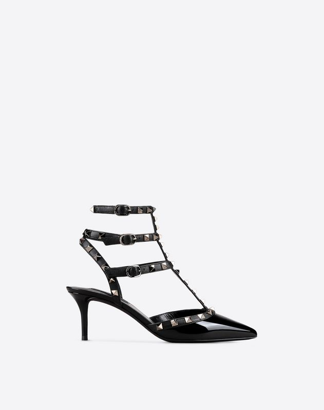 Patent Rockstud Noir caged Pump 65mm